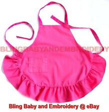 Hot Pink Apron Childern Girl Size Smock Embroidery Rhinestone Option