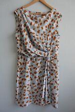 Diane Von Furstenberg Tamara Sky Blue White Tan Geo Prt Gathered Wst Dress sz 16