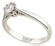 Diamante Solitario 1/3CT 18 KT ORO BIANCO 8 Artiglio Anello di fidanzamento 0.33 KT 750