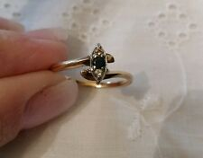 14 KT Yellow & White GOLD BLUE SAPPHIRE and DIAMOND RING SIZE 6 1/2 Estate Find