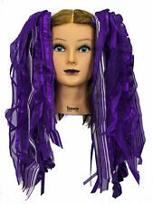 Dreadful Falls Purple Ribbon Gothic Fairy Hair Falls Extensions Belly Dance
