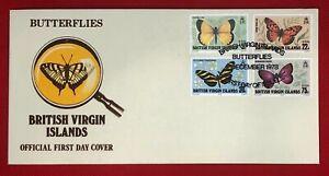 ZAYIX -1978 British Virgin Islands 342-345 First Day Cover FDC - Butterflies