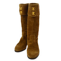 Authentic CHANEL CC Logos Boots Shoes Brown Suede Italy #35 Vintage AK17339g