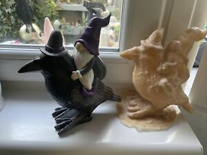Witch gonk gnome On Crow Latex rubber Mould mold Nordic Halloween Gnome Raven