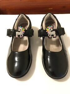 Girls  Lelli Kelly Shoes, Black Patent Leather, Unicorn, size UK 13F Kids  EU 32