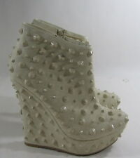 """new ladies Ivory Spike 5.5""""High Wedge 1.5""""Platform Sexy Ankle Boot  Size 6.5"""