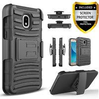 For Samsung Galaxy Express Prime 3 Case Belt Clip Cover+Tempered Glass Protector