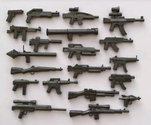 Lego Guns set 80 custom weapons WW2 Modern Machine gun for minifigure grey / tan