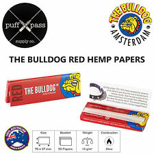 THE BULLDOG AMSTERDAM RED - HEMP ROLLING PAPERS [77mm x 37mm] 50 PAPERS - SMOKE