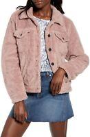 New BLANKNYC Cozy Teddy Faux Shearling Trucker Jacket Womens Size Medium Pink
