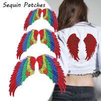 1 Pair Colorful Large Sequin Angel Wings Patch Iron On Sew On Applique Stick