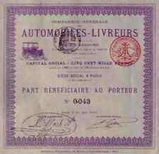 Compagnie Générale des Automobiles Livreurs Paris 1899 Titres Anciens 100 Francs