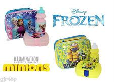 Disney FROZEN MINIONS Insulated Zip Lunch Bag Snack Box & Bottle School Lunch