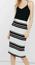 EXPRESS Sz 2 LONG MIDI STRIPED PENCIL SKIRT southwestern white burgundy black xs