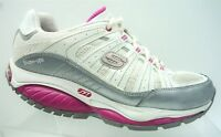 Skechers Shape Ups SFT White Pink Leather Athletic Walking Shoes Women's 7