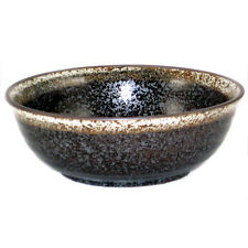 "2 PCS. Japanese 5""D Ceramic Rice Dessert Soup Bowls Black w/ Brown Speckled Edge"