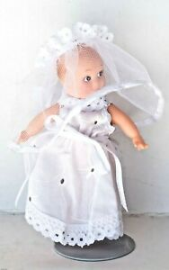 """Vtg Kewpie Doll Figurine with/Stand Rubber Toy Rare Bride Miniature 4"""" ~ Mint"""