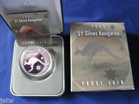 Australia .  2005  $1 Kangaroo -   1oz Silver - Proof - Cased
