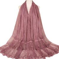 Women Pearl Lace Flower Muslim Scraf Islamic Hijab Shawl Cotton Scarves Stole