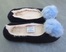 New Boden Blue Knitted Pom Pom Slippers - Size 3 - 4