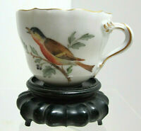 Meissen Porcelain Demitasse Split Handle Cup (No Saucer) - Birds/Insects MINT!