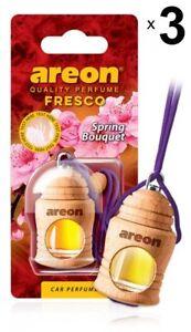 3 x Areon Fresco Spring Bouquet Car Aroma Perfume Tree Air Freshener Fragrance