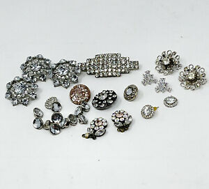 Lot of 28 Vintage Rhinestone Buttons Jewelry Crafts Sparkle Assorted Mixed