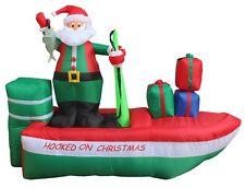 8 Foot Long Christmas LED Inflatable Santa Claus on Fishing Boat Yard Decoration