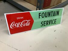 """""""COCA COLA FOUNTAIN SERVICE"""" PORCELAIN ADVERTISING SIGN (17""""x 5.5"""") MINT"""