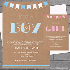 Personalised Baby Shower Invitations Cards x 12 with envs Boy Girl Kraft H1518