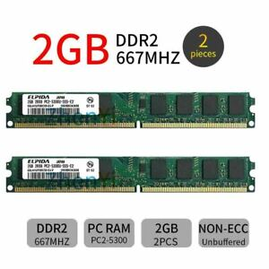 4GB 2x 2GB DDR2 667MHz PC2-5300U 240Pin CL5 DIMM Desktop Memory SDRAM ELPIDA ZT
