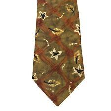 ERMENEGILDO ZEGNA Brown Leaves Autumn Dress Men's Tie 100% Silk RARE Necktie