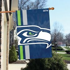 Seattle Seahawks Team Logo Banner Flag Bold Logo Double Sided 24X36 Licensed NFL