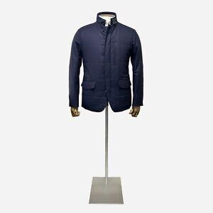 Canali Navy Wool Coat. Size 44 UK, 54 UK