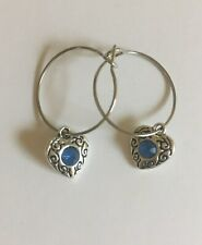 Silver plated 20mm hoopearing's withTibetan silverheart withbluegem
