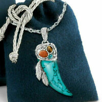 Men's Vintage Wolf Tooth Pendant Turquoise Silver Necklace Jewelry Party