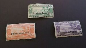 1941 Free French Issue.  optd France Libre 5-15c MH OG :  nice examples