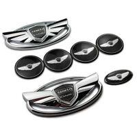 Set of 7pcs 3D Silver Chrome WING Logo Emblem Badge For Hyundai Genesis Coupe