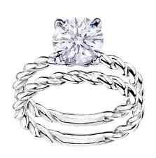 2 Ct Round Cut D VVS1 Engagement Matching Wedding Band Ring 18k White Gold