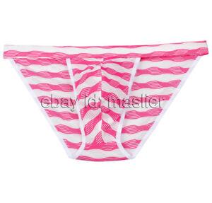 Mens Ventilate Striped Bikini Unrestrain Briefs Jockstrap Underpants Underwear