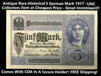 Antique Rare Historical 5 German Marks 1917 - UNC GEM  - 103 Years Old