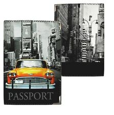 Stylish Passport Cover - Textile ID Holder - Fabric Case - Retro Car New York