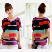 Women Soft Casual Chiffon Batwing Sleeve Stripe Loose Shirts Tops Blouse T-Shirt