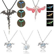 Vintage Luminous Glow In The Dark Cross Dragon Pendant Necklace Silver Jewelry