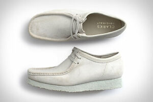 NEW MENS CLARKS ORIGINALS WALLABEE LOW LIMITED EDITION WHITE CHAULK SUEDE SHOES