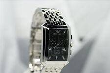 ARMANI EA Herrenuhr AR0474 Edelstahlarmband Chronograph Datum schwarz Uhr NEU
