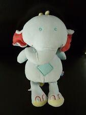 M6- DOUDOU PELUCHE SUCRE D'ORGE ELEPHANT BLEU ROUGE JAUNE VERT POIS 26cms NEUF *