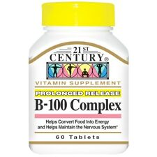 NEW 21ST CENTURY B-100 COMPLEX PROLONGED RELEASE 60 TABLETS VITAMIN SUPPLEMENT