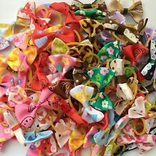 50PCS/lot Dogs mix bow elastic rubber bands Dog Puppy Hair rope Pet Accessories