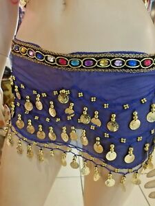 Royal Blue Belly Dance Hipster Skirt Scarf Wrap Belt W/Coins 3 Rows Sequins Tass